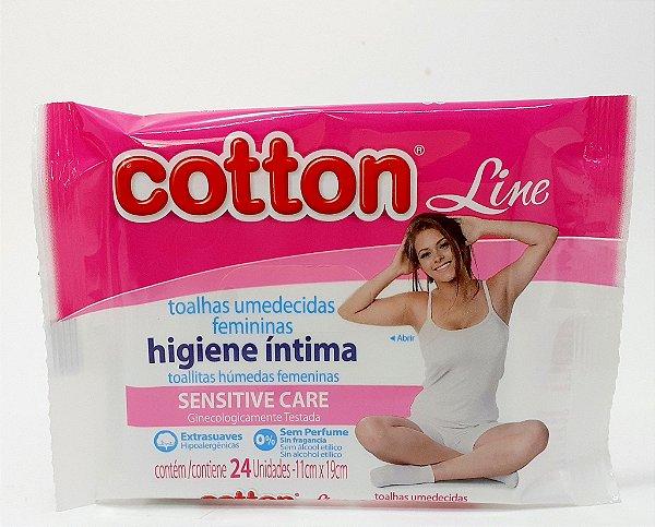 Toalhas Umedecidas Femininas Para Higiene Íntima 24 Unid - Cotton Line