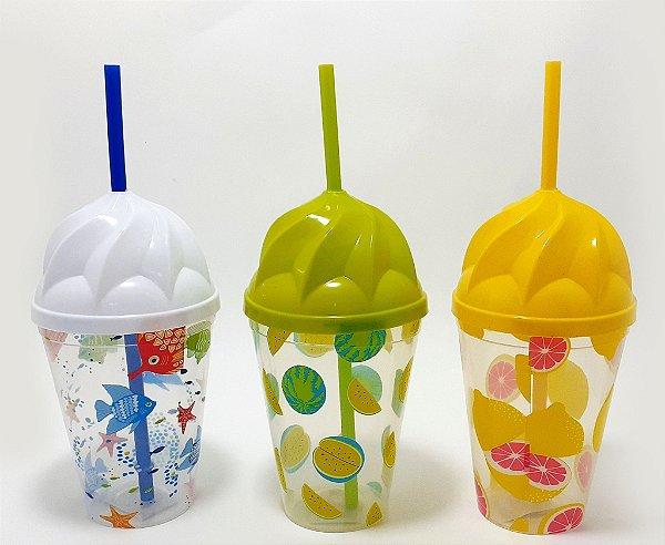 Copo De Plástico Com Tampa E Canudo 450ml - Temático Verão