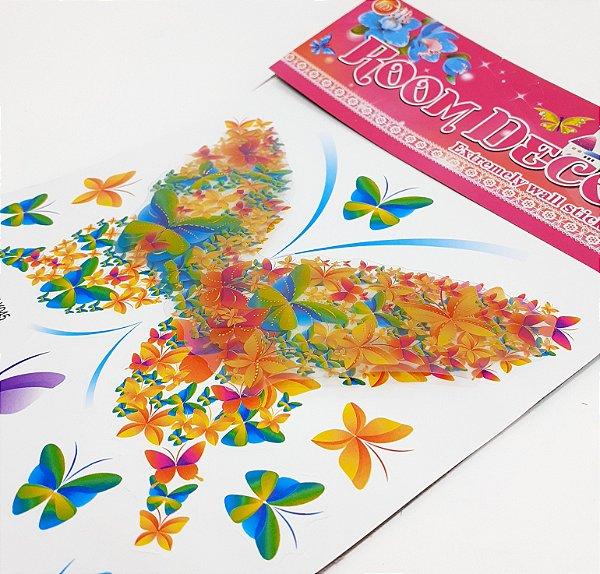 Adesivo Decorativo Colorido 6D - Temático Borboletas