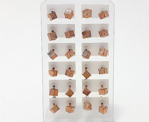 Cartela Com 12 Pares De Brincos Pequenos Quadrados