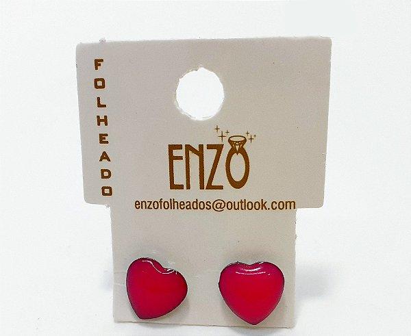 Brinco De Coração Rosa Pequeno - REF: PT0275