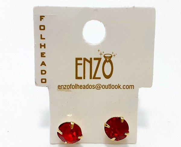 Brinco Pequeno Com Pedrinha Vermelha - REF: PT0276
