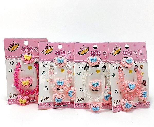 Conjunto De Bijuteria Infantil Em Miçangas - Pingente Coração Com Laço