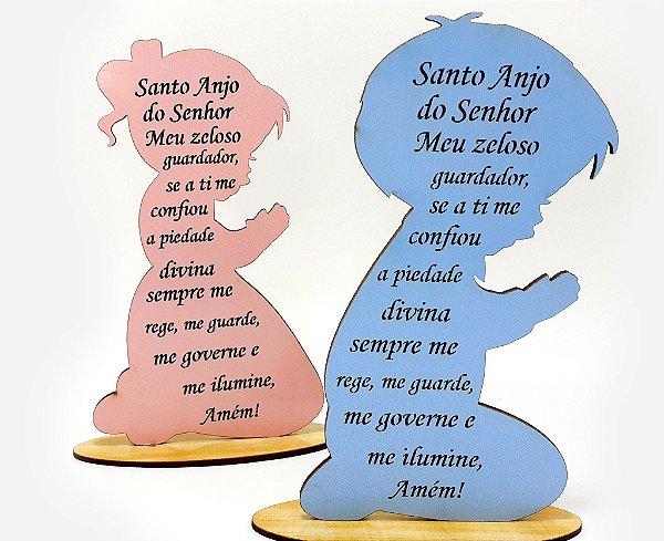 Quadro De Oração Santo Anjo Infantil - MDF Colorido