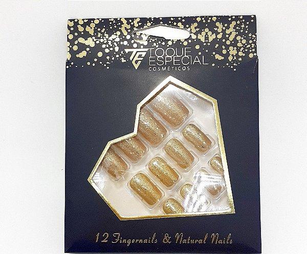 Embalagem com 12 Unhas Postiças - Quadradas Dourada