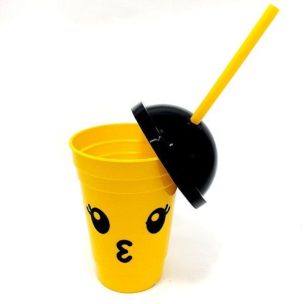 Copo De Plástico Com Tampa E Canudo 450ml - Temático Emoji