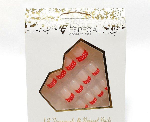 Embalagem com 12 Unhas Postiças - Francesinha Vermelha