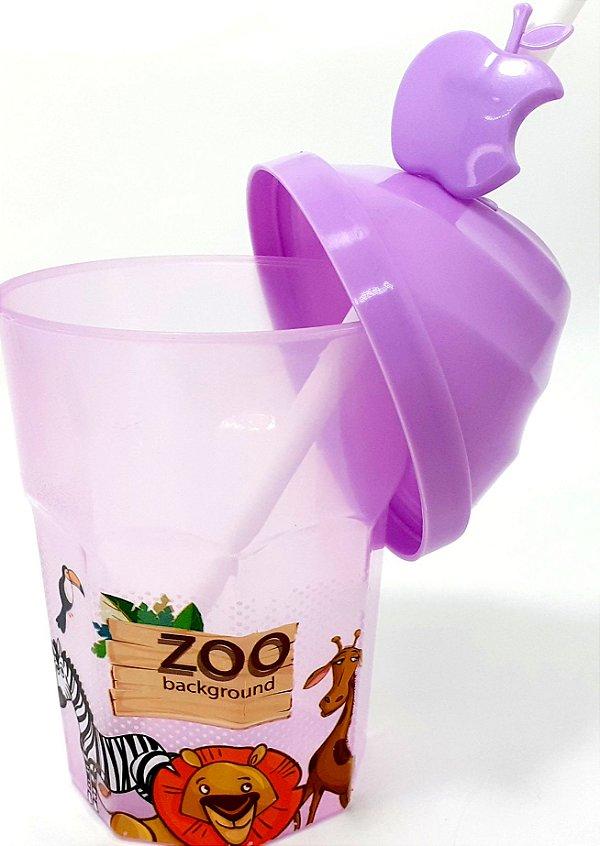 Copo De Plástico Com Tampa E Canudo 350ml - Temático Zoológico