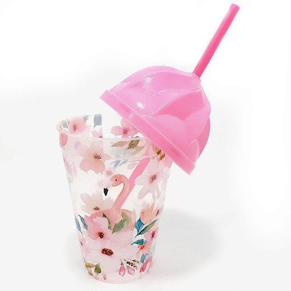 Copo De Plástico Com Tampa E Canudo 450ml - Flores E Flamingo
