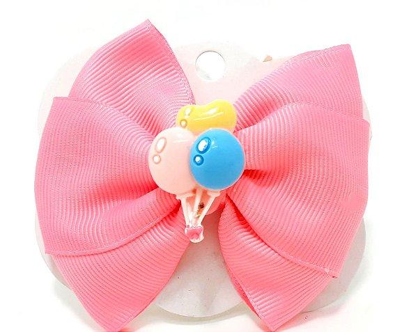 Presilha Infantil Bico De Pato Para Cabelo Com Laço Médio - Gorgorão Rosa