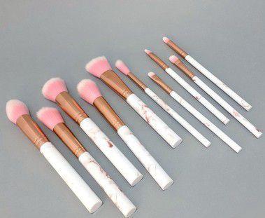 10 Pinceis De Maquiagem Com Cabo De Mármore Branco E Rosa