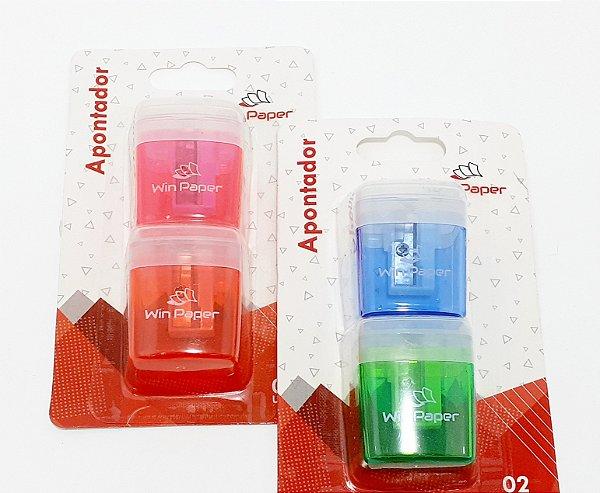Kit Com 2 Apontadores Escolar Com Deposito Colorido - WinPaper