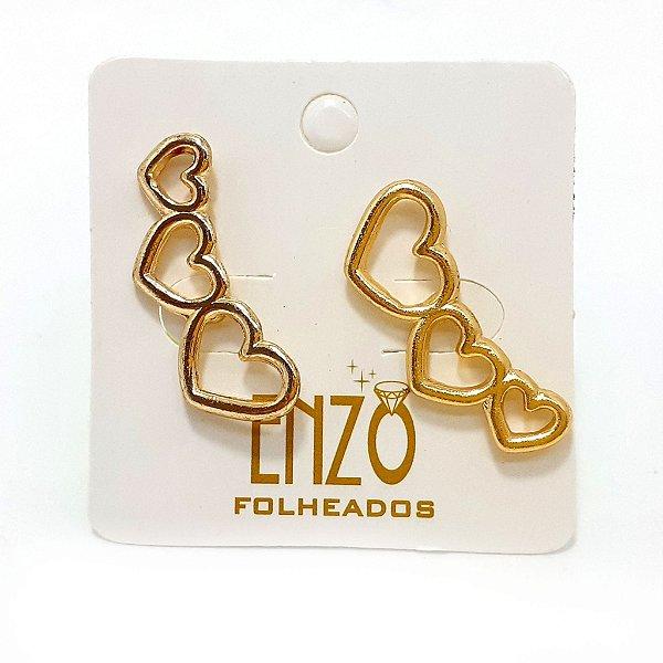 Brinco Dourado Trio De Coração - REF: PT0299