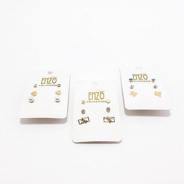 Cartela Com 3 Pares De Brincos Dourado - REF: PT0333