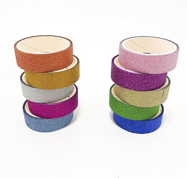 Embalagem Com 5 Unidades De Fitas Adesivas Com Glitter Colorido