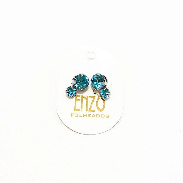 Brinco Pedra Azul - REF: PT0336