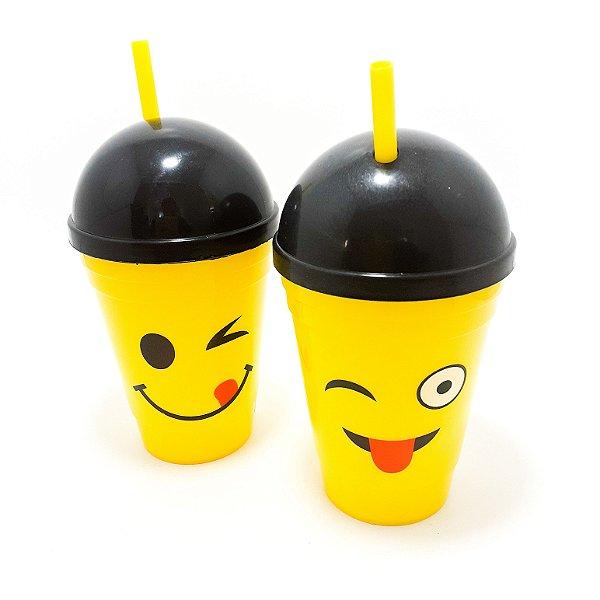 Copo De Plástico Com Tampa E Canudo Amarelo 400ml - Tema Emoji