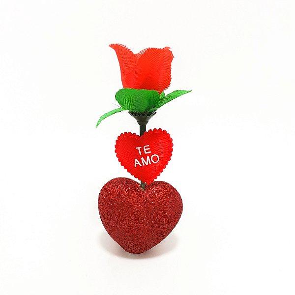 Flor Artificial Com Coração Vermelho Brilhante - Temático Te Amo