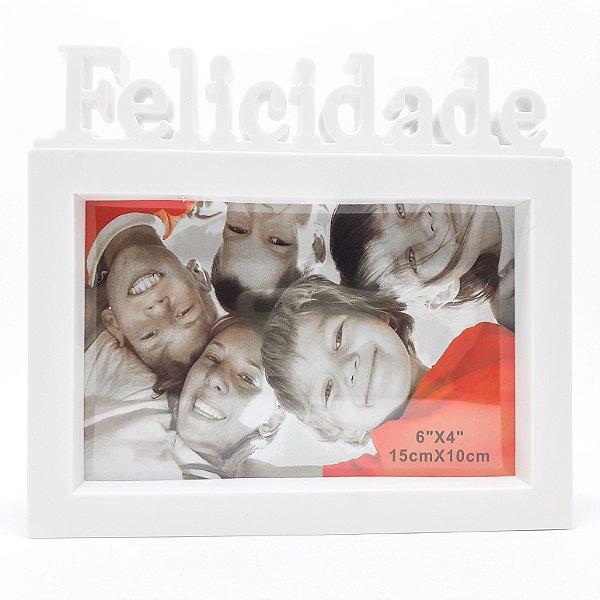 Porta Retrato De Plástico Para Mesa Temático Felicidade - Branco