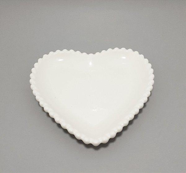 Enfeite Decorativo De Cerâmica Branco - Temático Coração