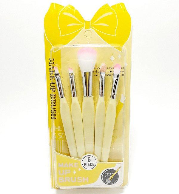 Kit Com 5 Pincéis De Maquiagem Com Cabo Amarelo - Brush