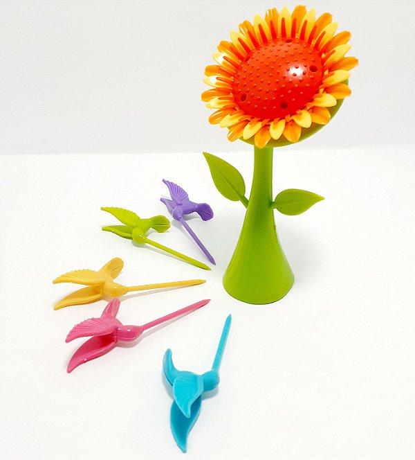 Pegador De Petisco De Plástico 5 Peças Temático Beija Flor - FWB
