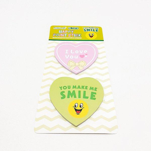 Lembretes Auto Adesivo Com 2 Blocos De Coração - Temático Smile