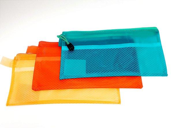 Necessaire Multiuso Transparente Com Zíper - Colorido