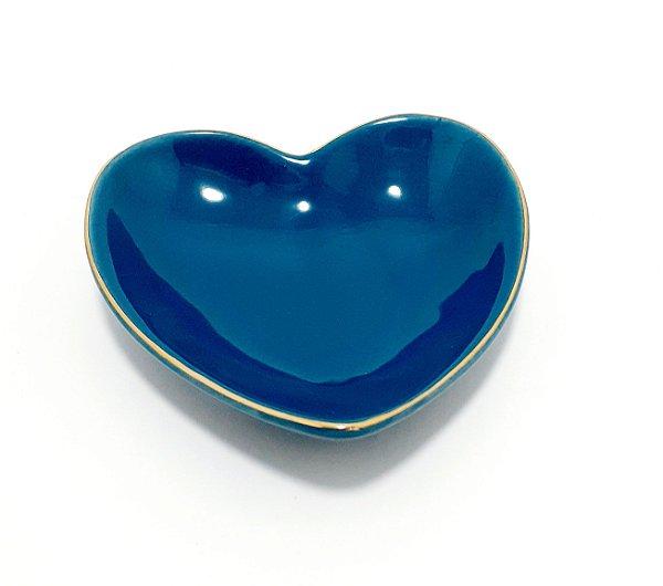Porta Jóias Pequeno De Coração Em Porcelana - Azul