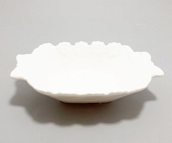 Enfeite Decorativo De Cerâmica Branco - Flores E Laços