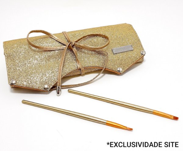Kit Com 2 Pincéis E Estojo Porta Pincéis Dourado - Hello Mini
