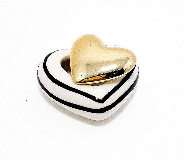 Mini Porta Objetos De Coração Com Tampa Em Porcelana - Branco E Dourado