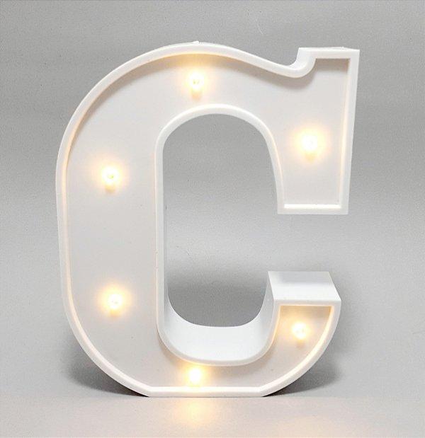 Luminária De Plástico Letra C - Branco