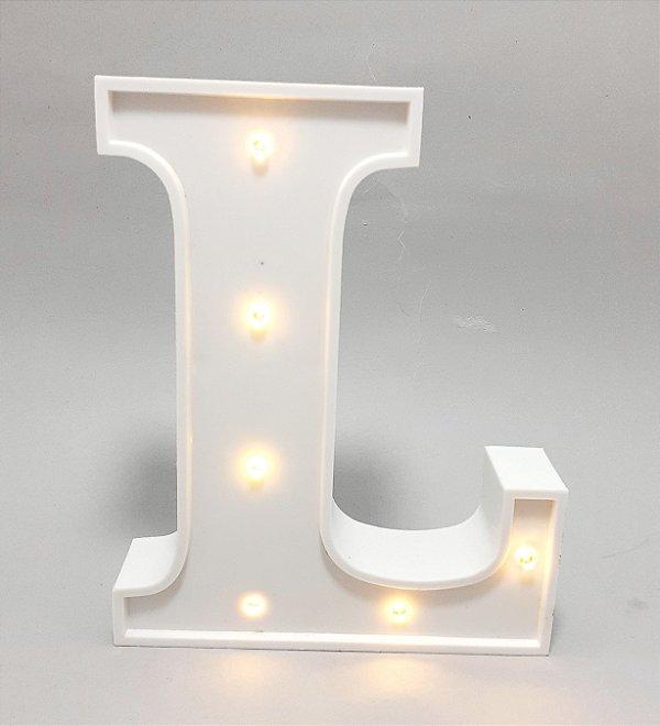 Luminária De Plástico Letra L - Branco