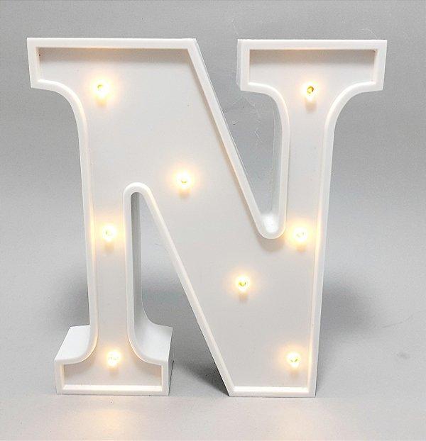 Luminária De Plástico Letra N - Branco