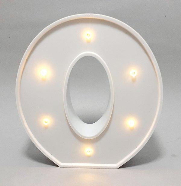 Luminária De Plástico Letra O - Branco