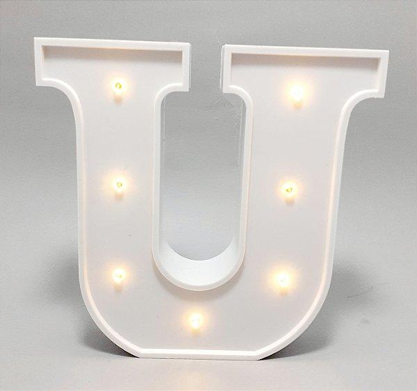 Luminária De Plástico Letra U - Branco