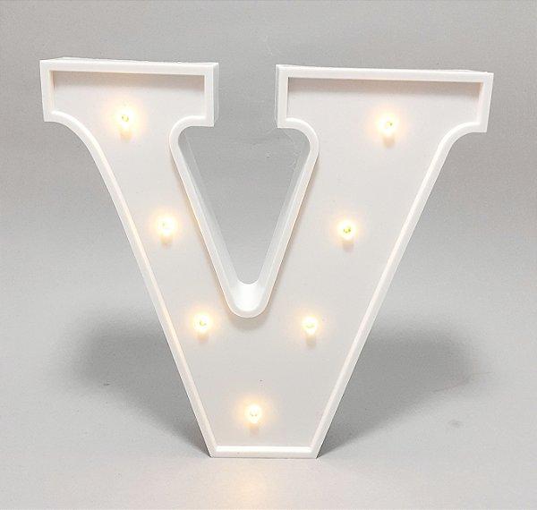 Luminária De Plástico Letra V - Branco