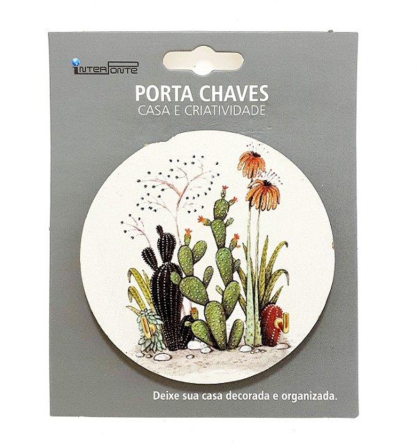 Porta Chaves Em MDF Com Decoração De Cactus