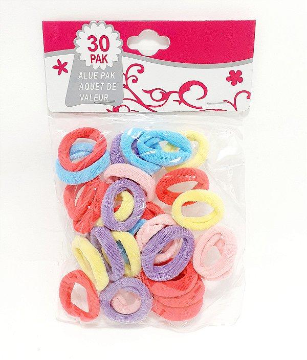 Embalagem Com 30 Elásticos Para Cabelo Pequeno - Colorido