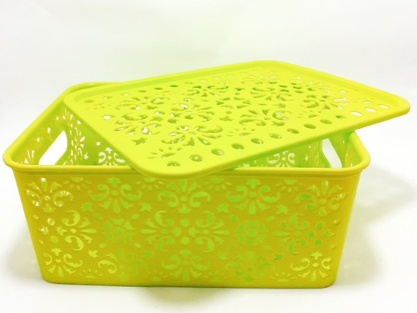 Cesto Organizador De Plástico Com Tampa - Verde