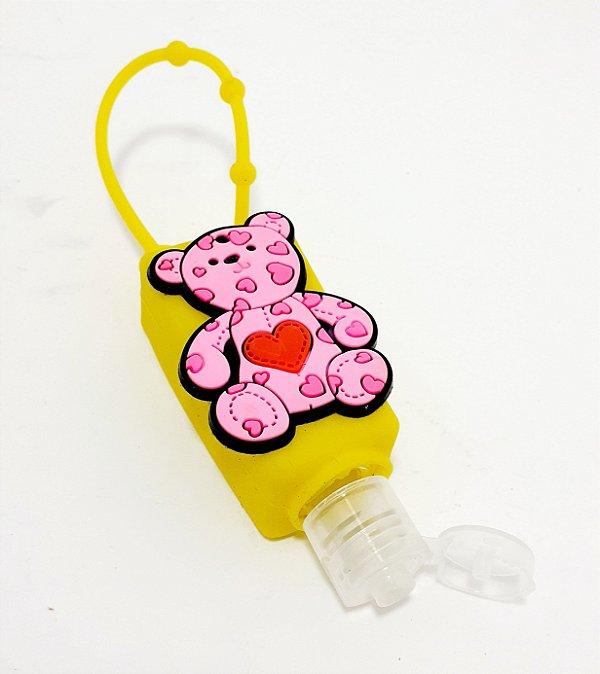 Frasco Quadrado Para Álcool Em Gel Com Capa Em Silicone Amarelo - Temático Ursinho