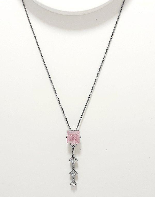 Colar De Ródio Com Pedra Quadrada - Rosa