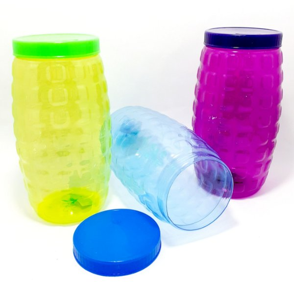 Porta Mantimento De Plástico Com Tampa Colorido - 1550ml