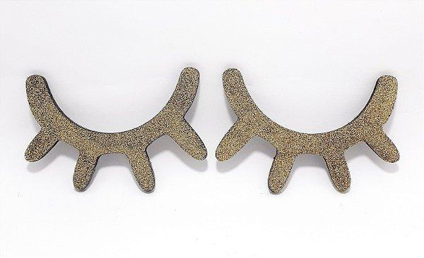 Par De Cílios Decorativo Em Madeira Preto Com Glitter Dourado Com 14cm Cada