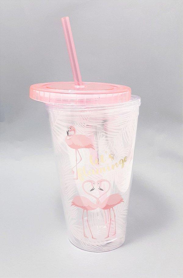 Copo De Acrílico Efeito 3D Com Tampa E Canudo 500ml - Temático Flamingo