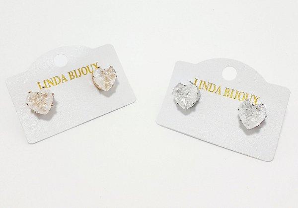 Brinco Dourado De Coração Com Pedra - REF: PT0417