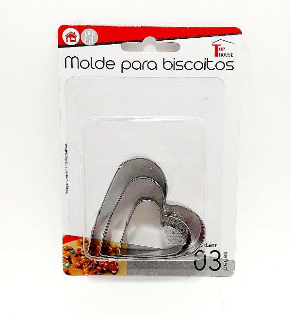 Kit Com 3 Moldes Para Biscoitos De Metal Coração - Top House