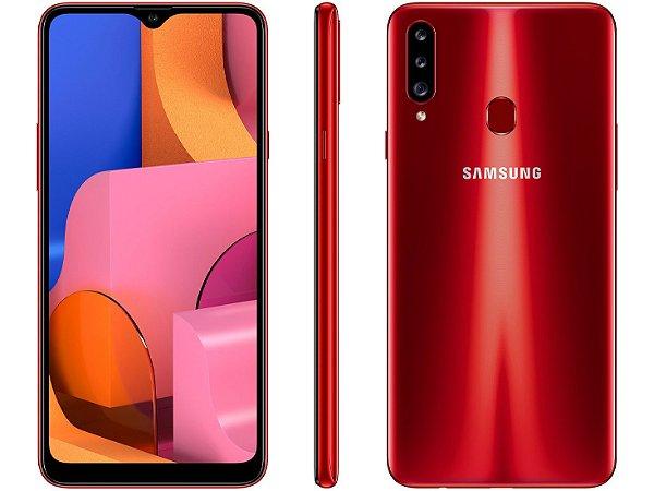 Smartphone Samsung Galaxy A20s 32GB Vermelho 4G - Octa-Core 3GB RAM Câm. Tripla + Selfie 8MP