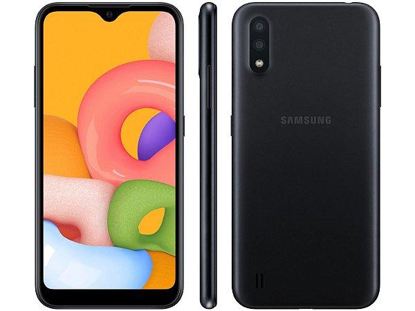 "Smartphone Samsung Galaxy A01 32GB Preto Octa-Core - 2GB RAM Tela 5,7"" Câm. Dupla + Câm. Selfie 5MP"